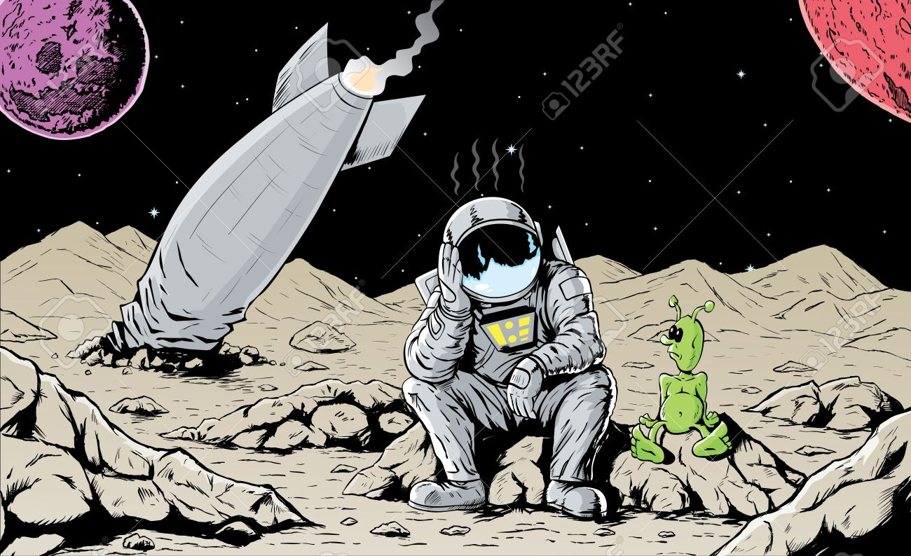 Astronaut is feeling bad for crashing his ship Stock Vector - 9305377