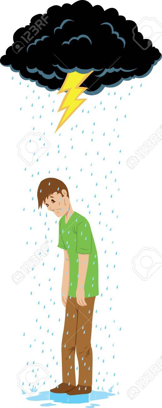 Sad guy beneath a rain cloud. Stock Vector - 9720975