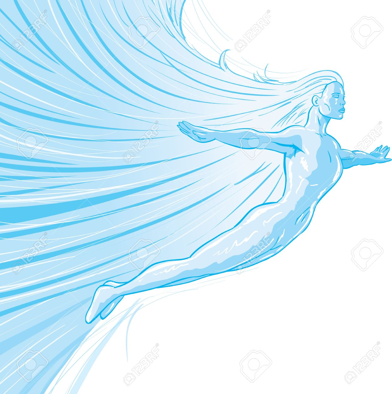Ice Superhero Drawing Drawing of a Flying Ice