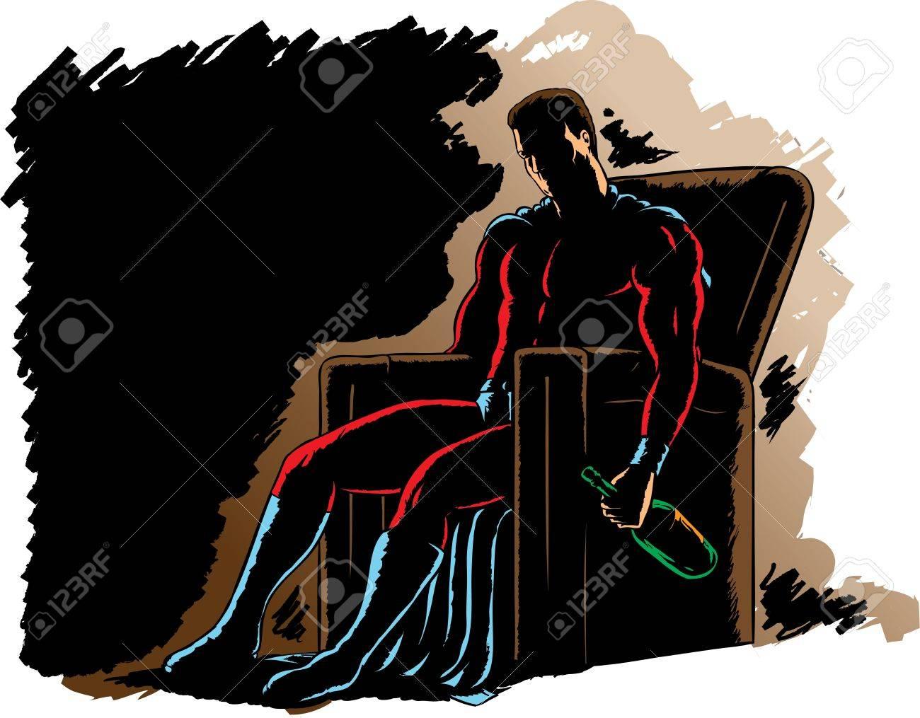 Alcoholic Superhero, slumped in a chair Stock Vector - 10044075