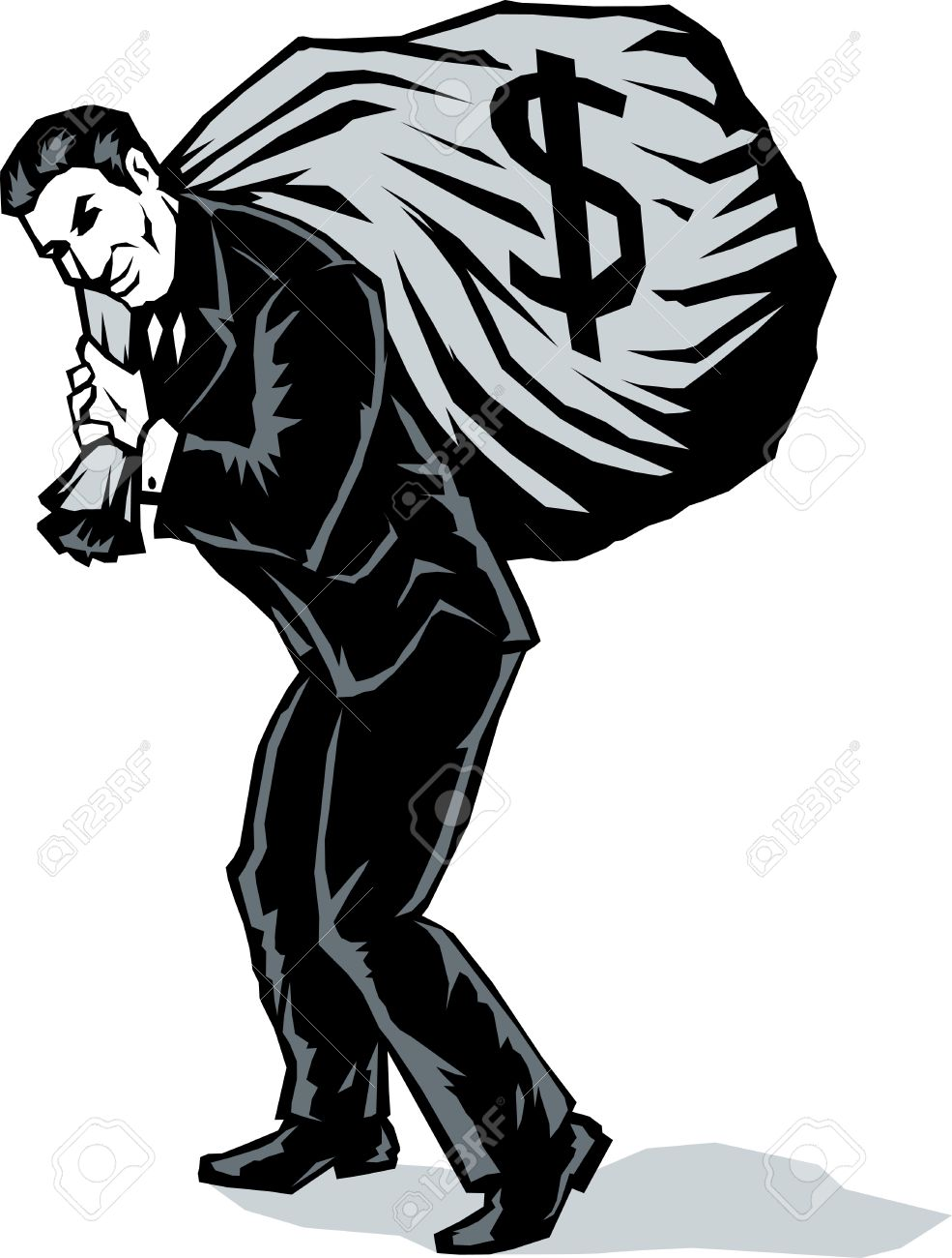 Stylized Business man with bag Stock Vector - 10348592