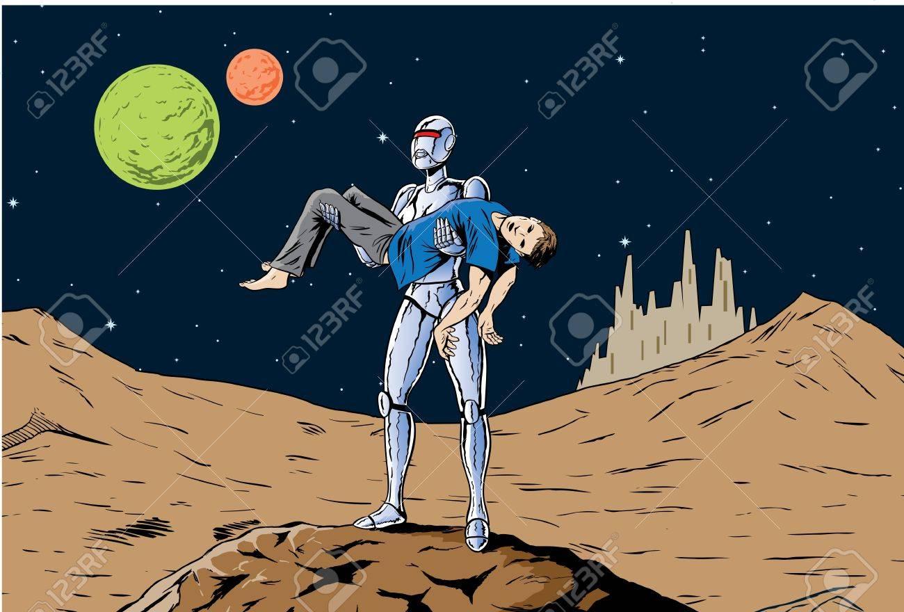 ロボットの女の子が男は、フェミニストのオマージュを運び去るします ...