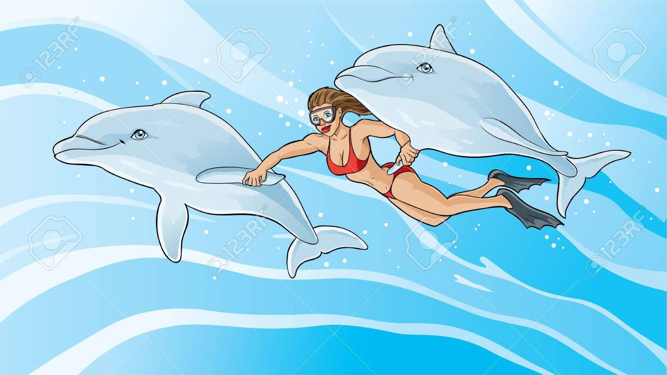Swimming with the dolphins Stock Vector - 13991380