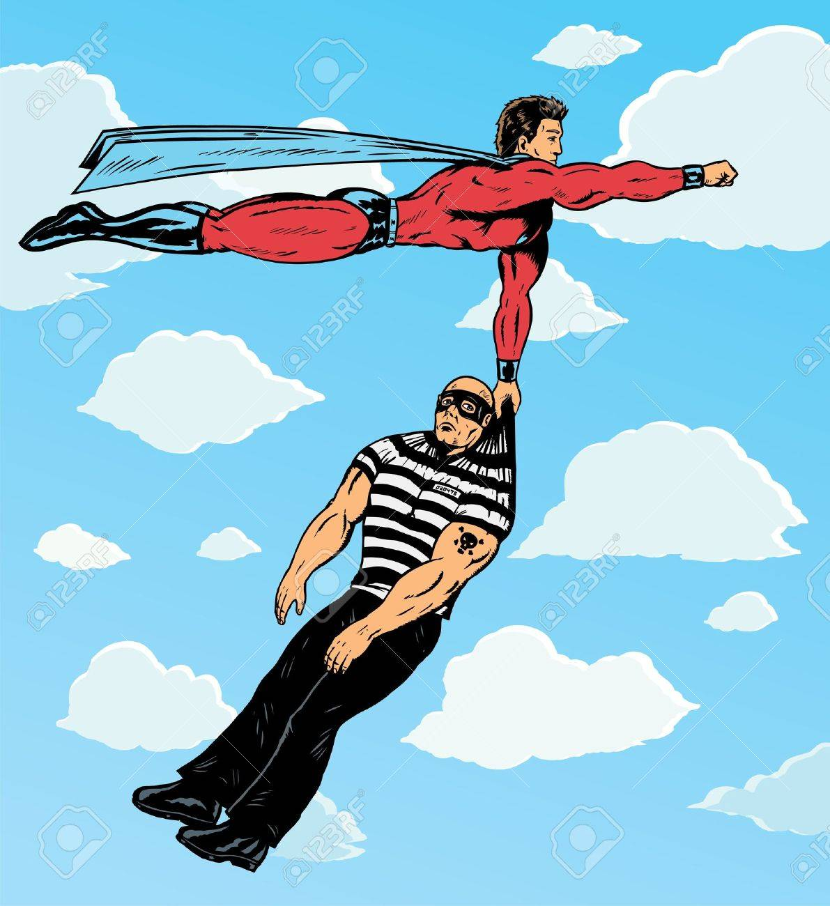 Superhero capturing villain. Stock Vector - 20342457