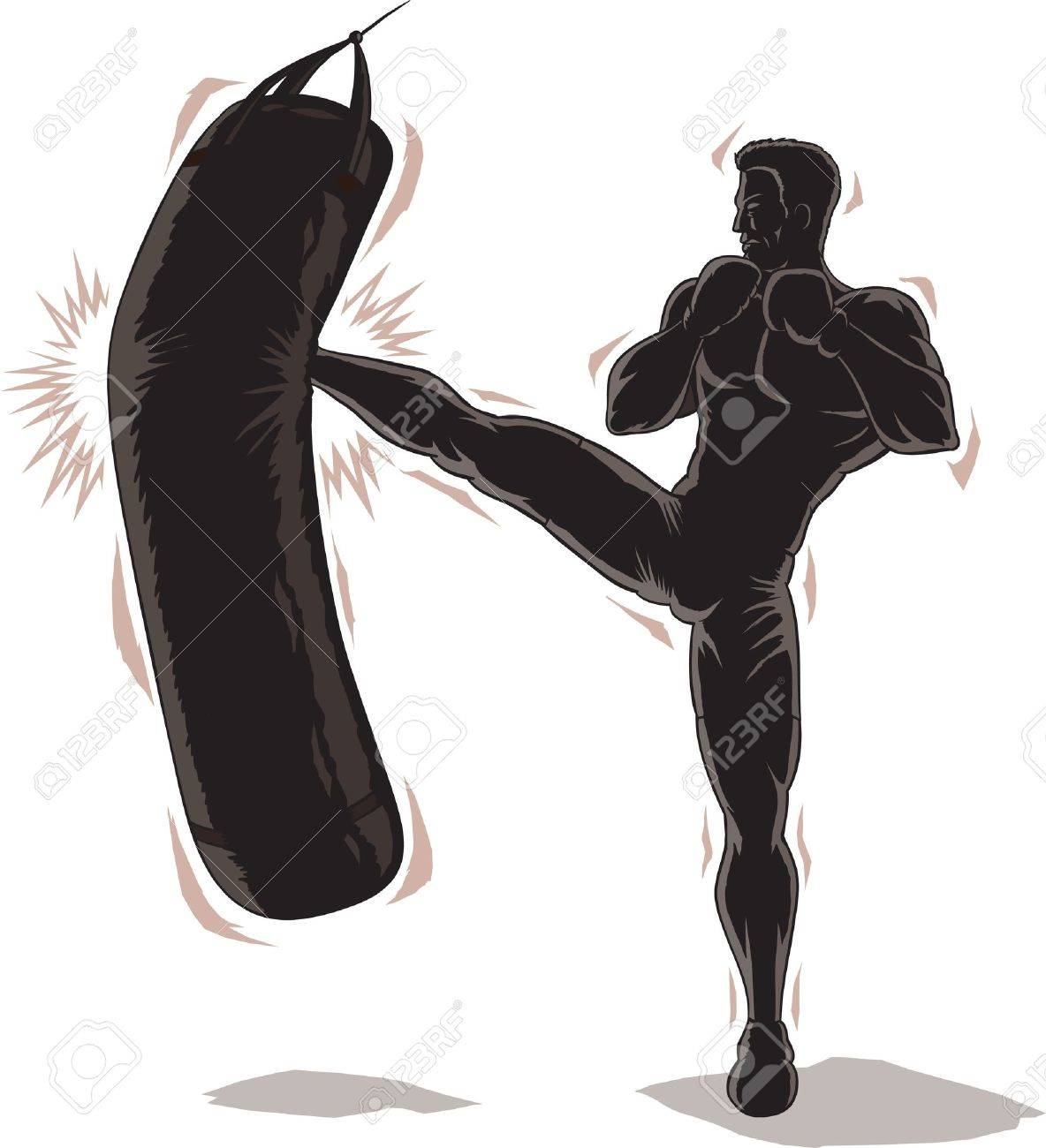 Male Kickboxer Outline - 21697952