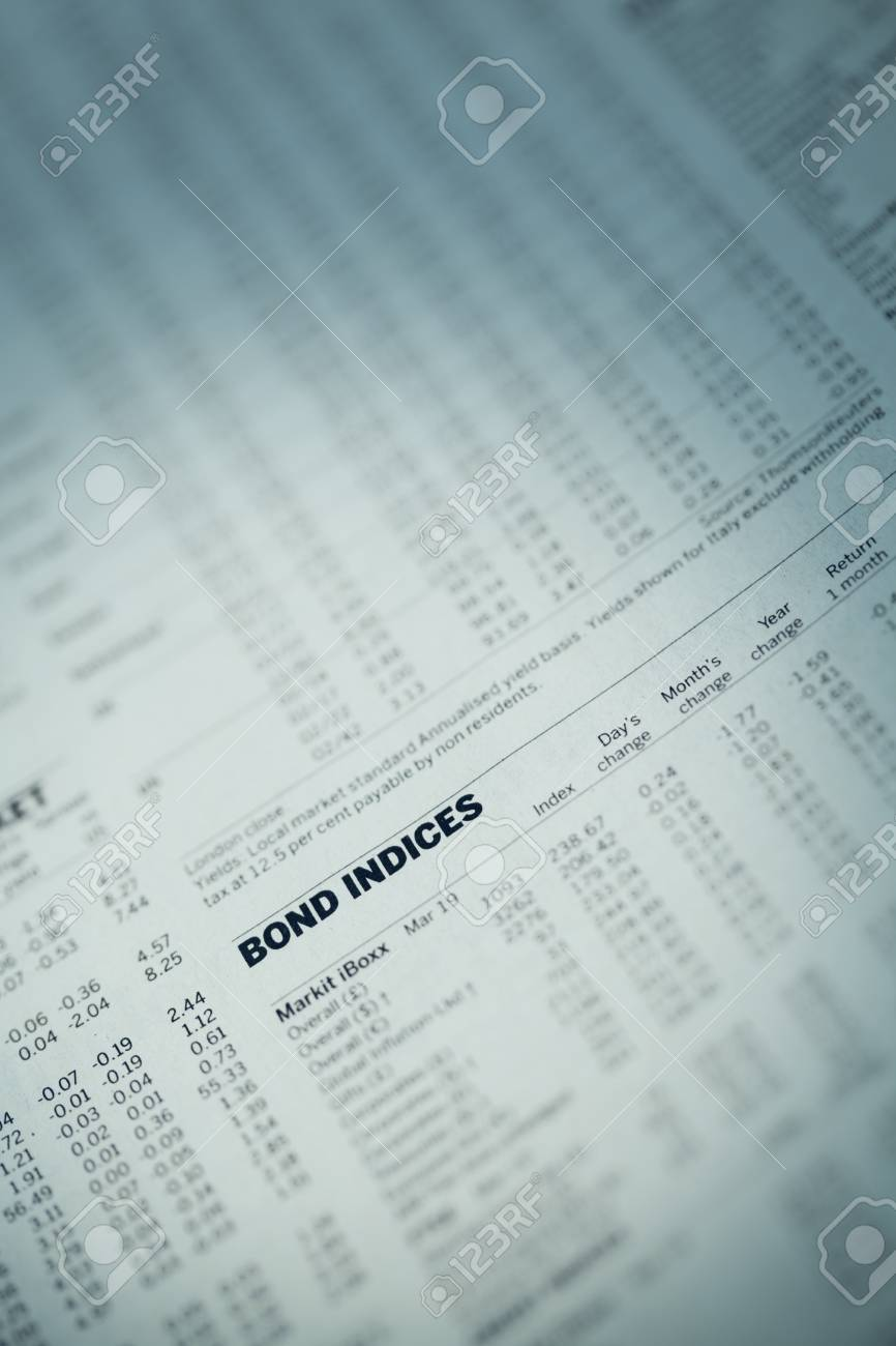 Article in the financial newspaper with the words Bond Indices Stock Photo - 16708413