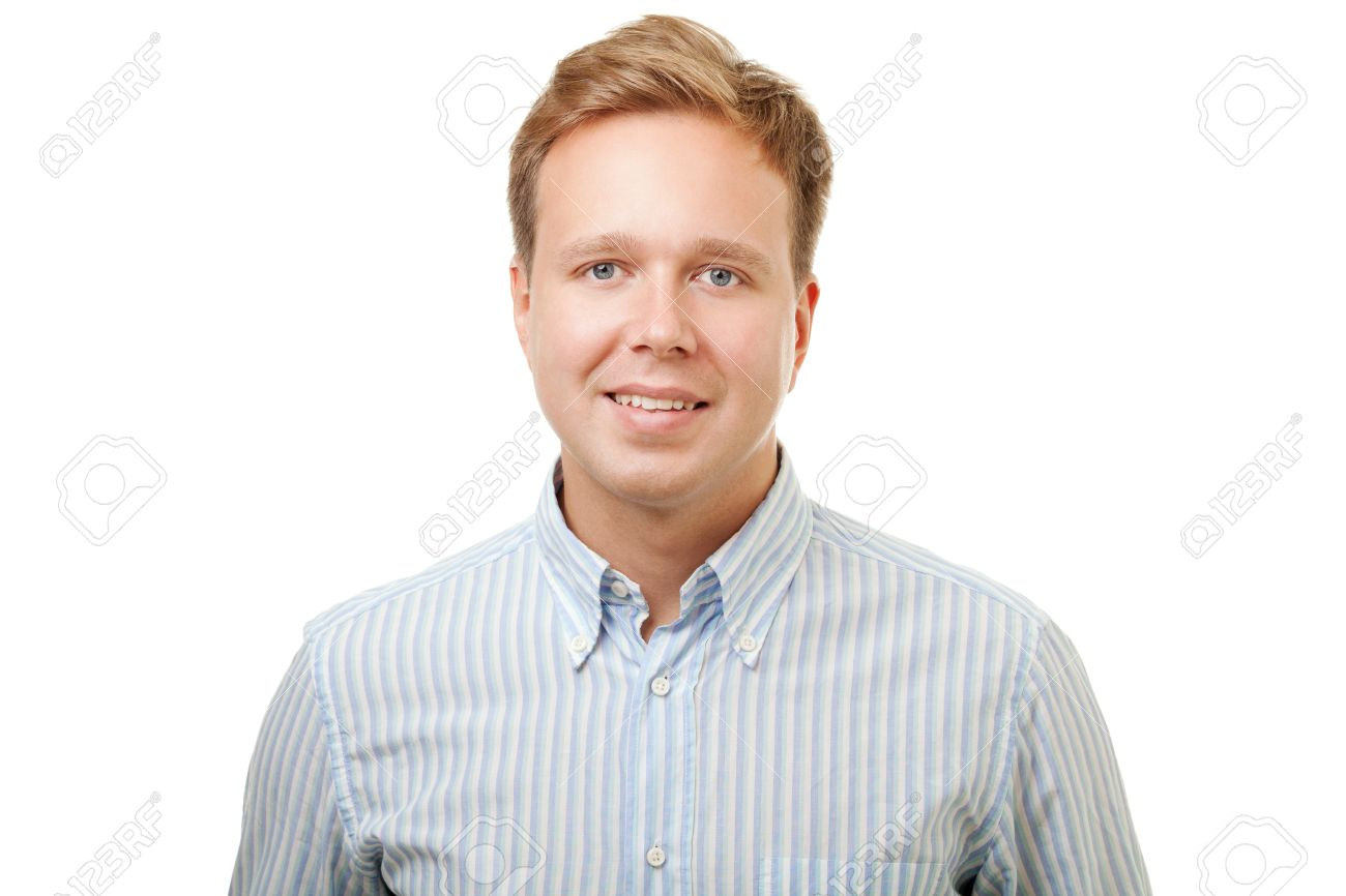 Portrait of a young handsome blond man with kind smile in blue striped shirt isolated on white background Stock Photo - 42714767
