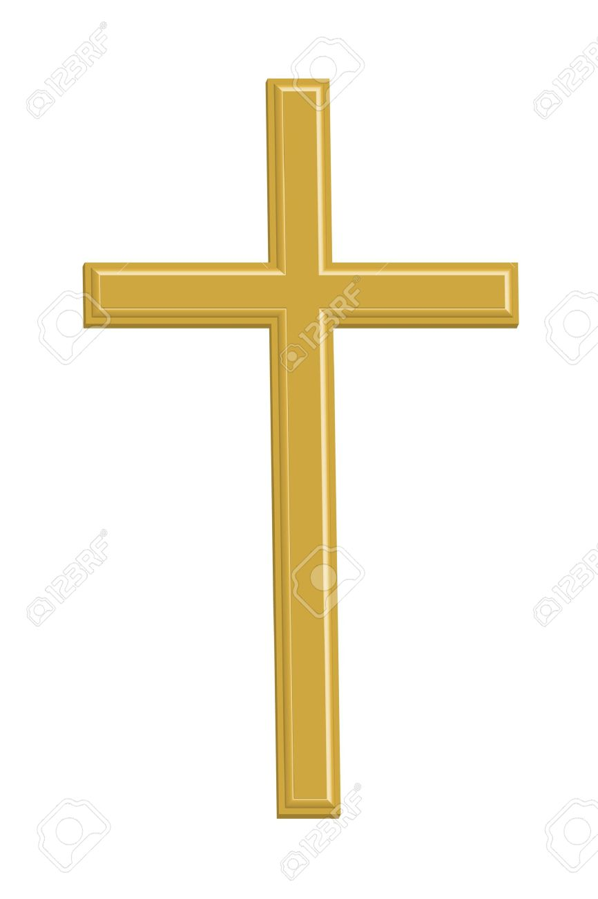 Gold Cross On White Background Stock Illustration - Image: 57349111