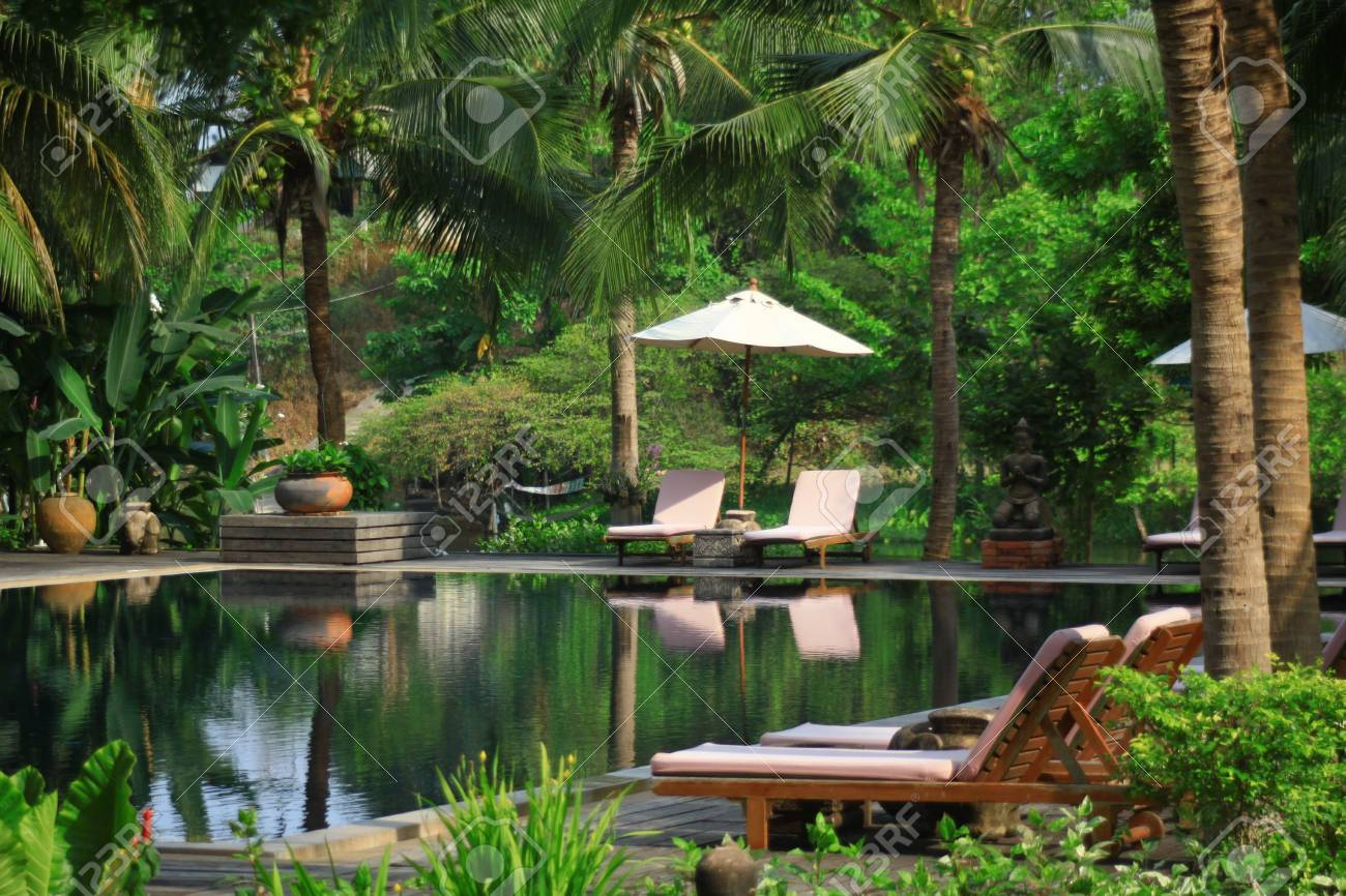 Tropical Swimming Pool In Thailand Stock Photo, Picture And Royalty ...
