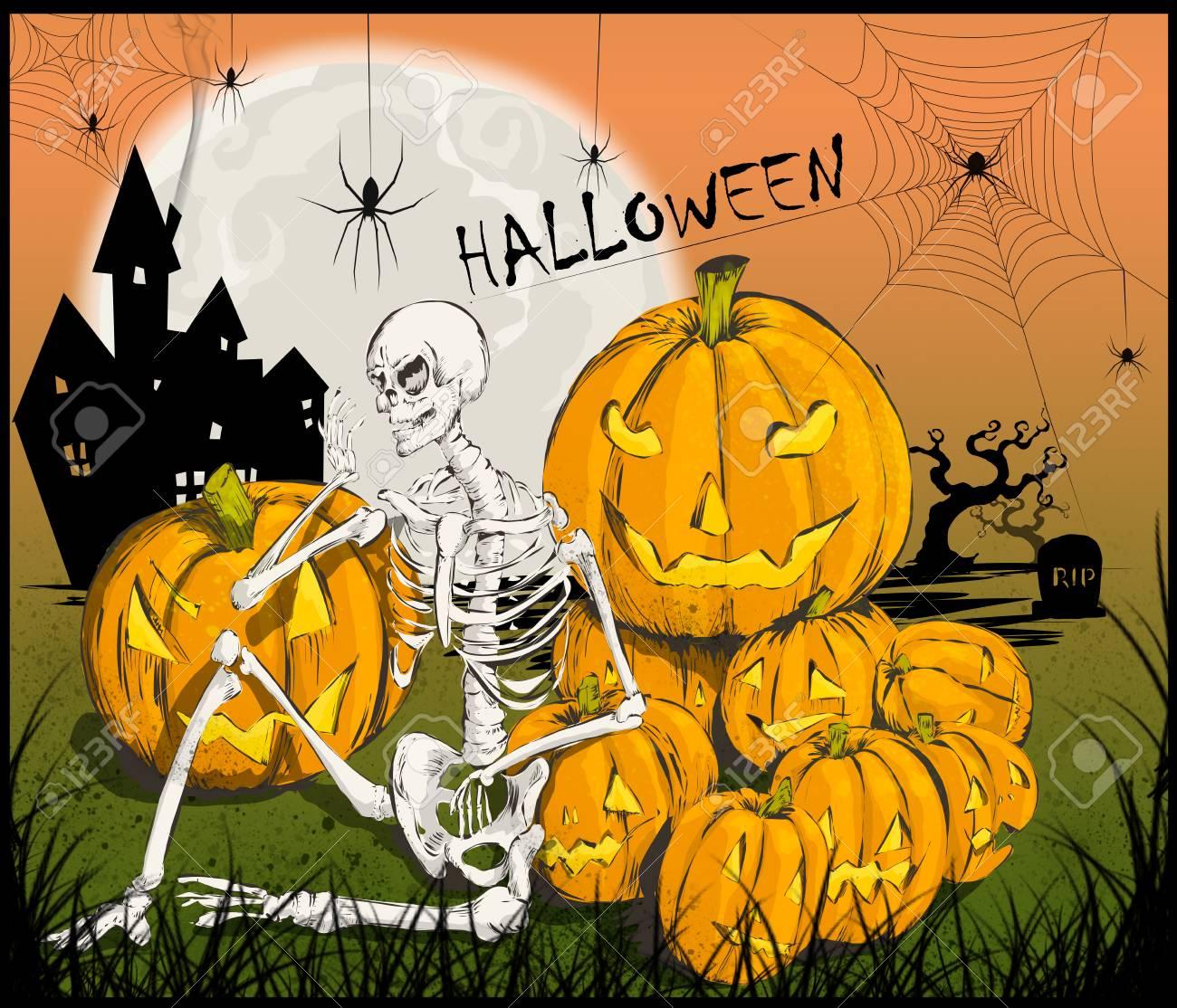 Halloween-Party Mit Skelett Und Kürbisse. Eine Partei, Wo Die Kinder ...