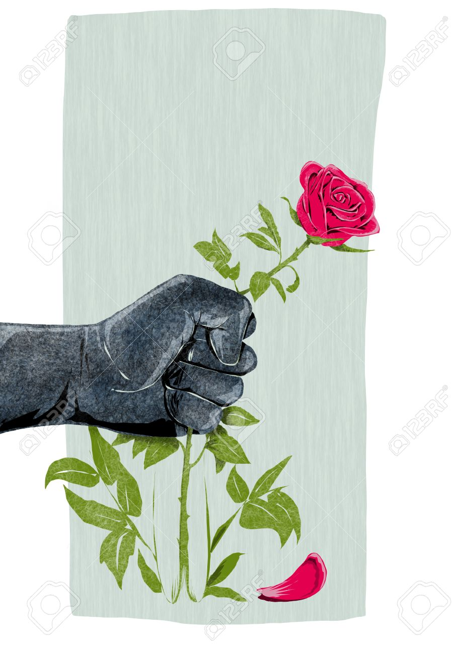 Illustration of hand that breaks a rose as a symbol of violence illustration of hand that breaks a rose as a symbol of violence against women stock illustration buycottarizona Choice Image