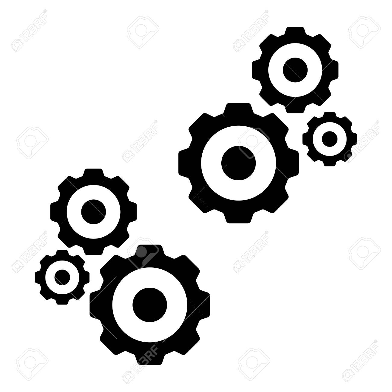 Gears icon isolated black color in white background for ios android