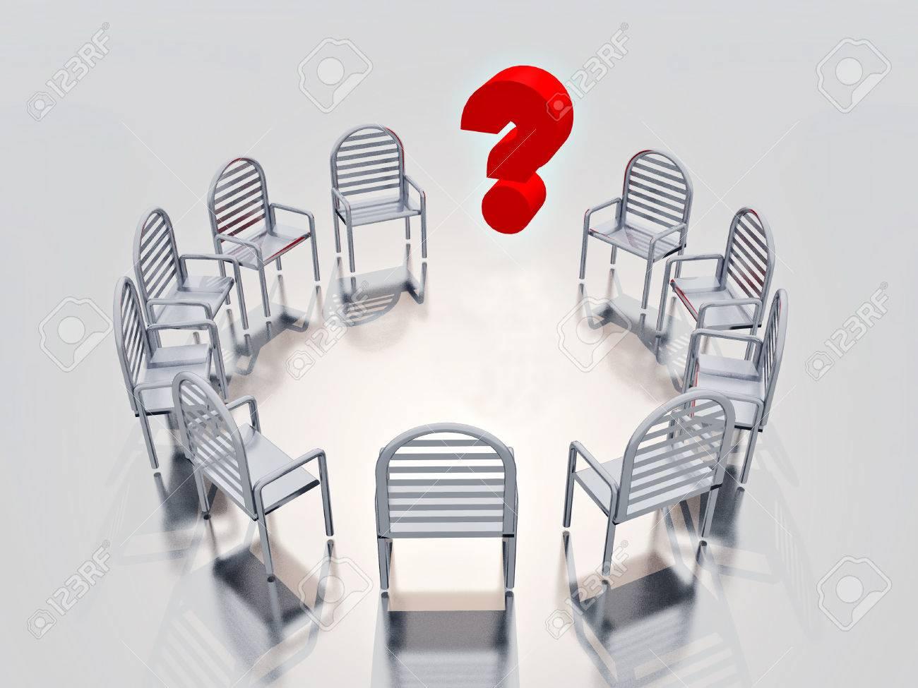 Stuhlkreis symbolkarte  Ein Stuhlkreis Mit Fragezeichen-Symbol Im Inneren Lizenzfreie ...