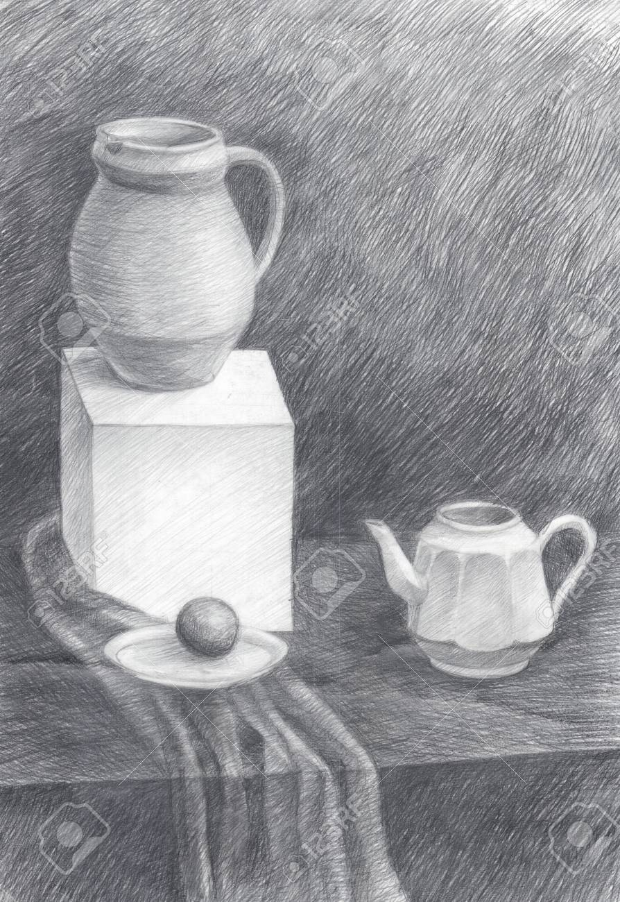 Black and white illustration of kitchen objects pencil drawing stock illustration 93149934