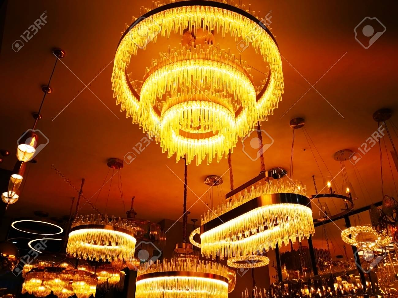 Home Decoration Concept Many Lamps Made Of Small Glass Tubes It Was Hung On