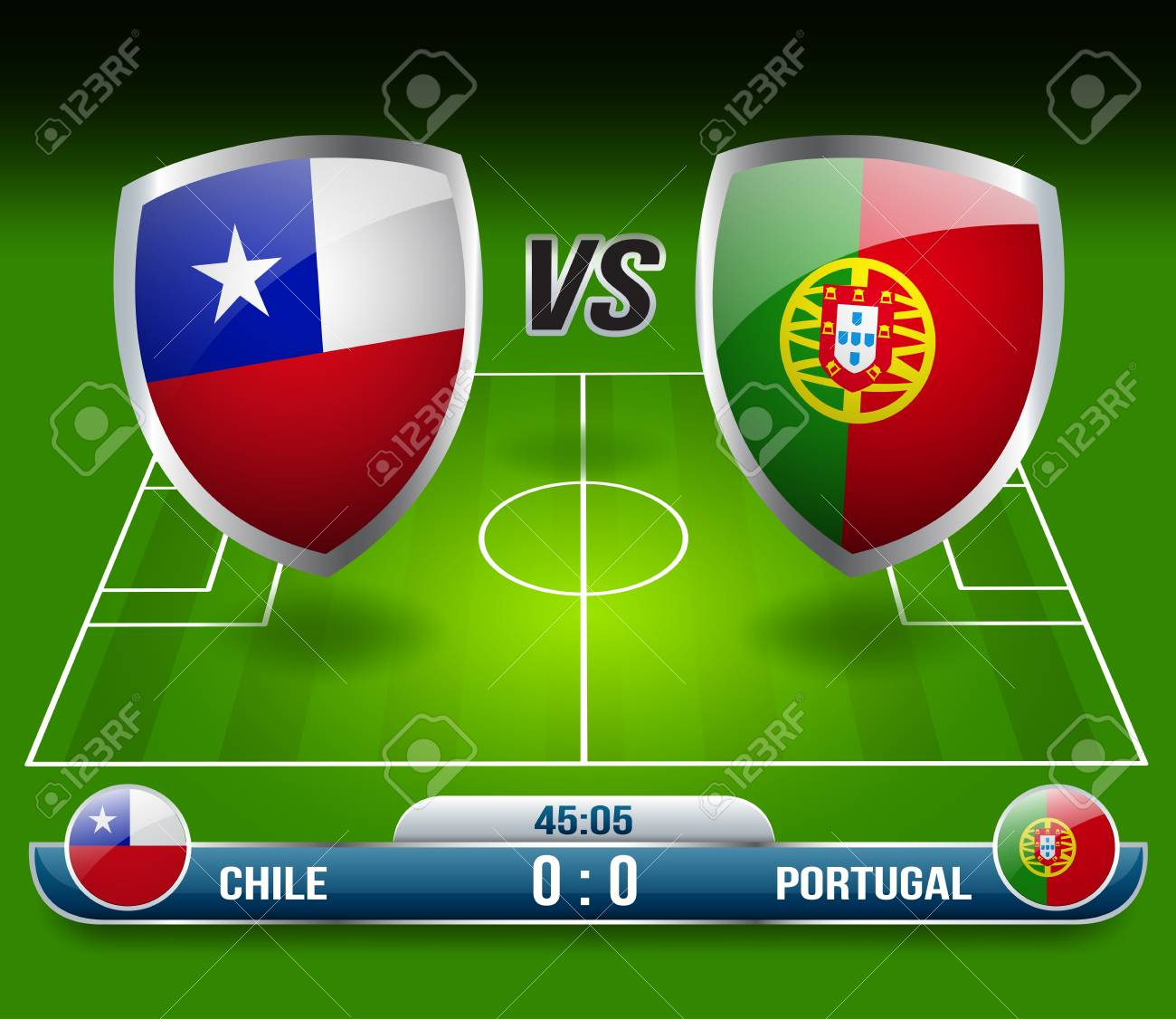 Chile Vs Portugal Soccer Match Vector Illustration Royalty Free