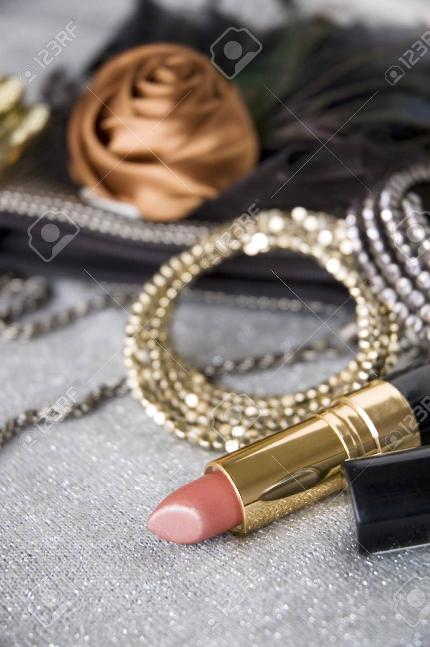 pink lipstick and accessories background Stock Photo - 15061968
