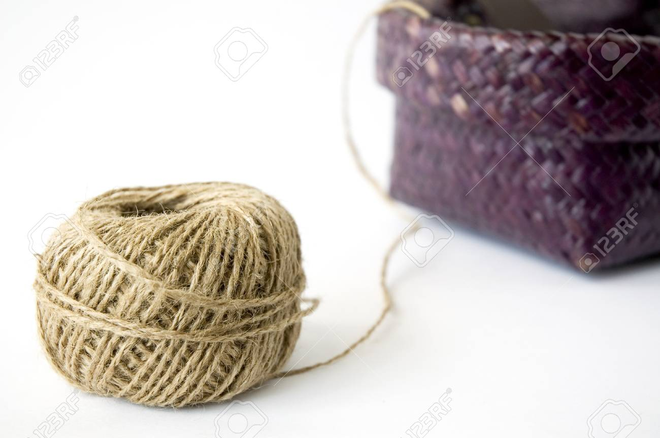 close up ball of hemp rope with basket Stock Photo - 15431445