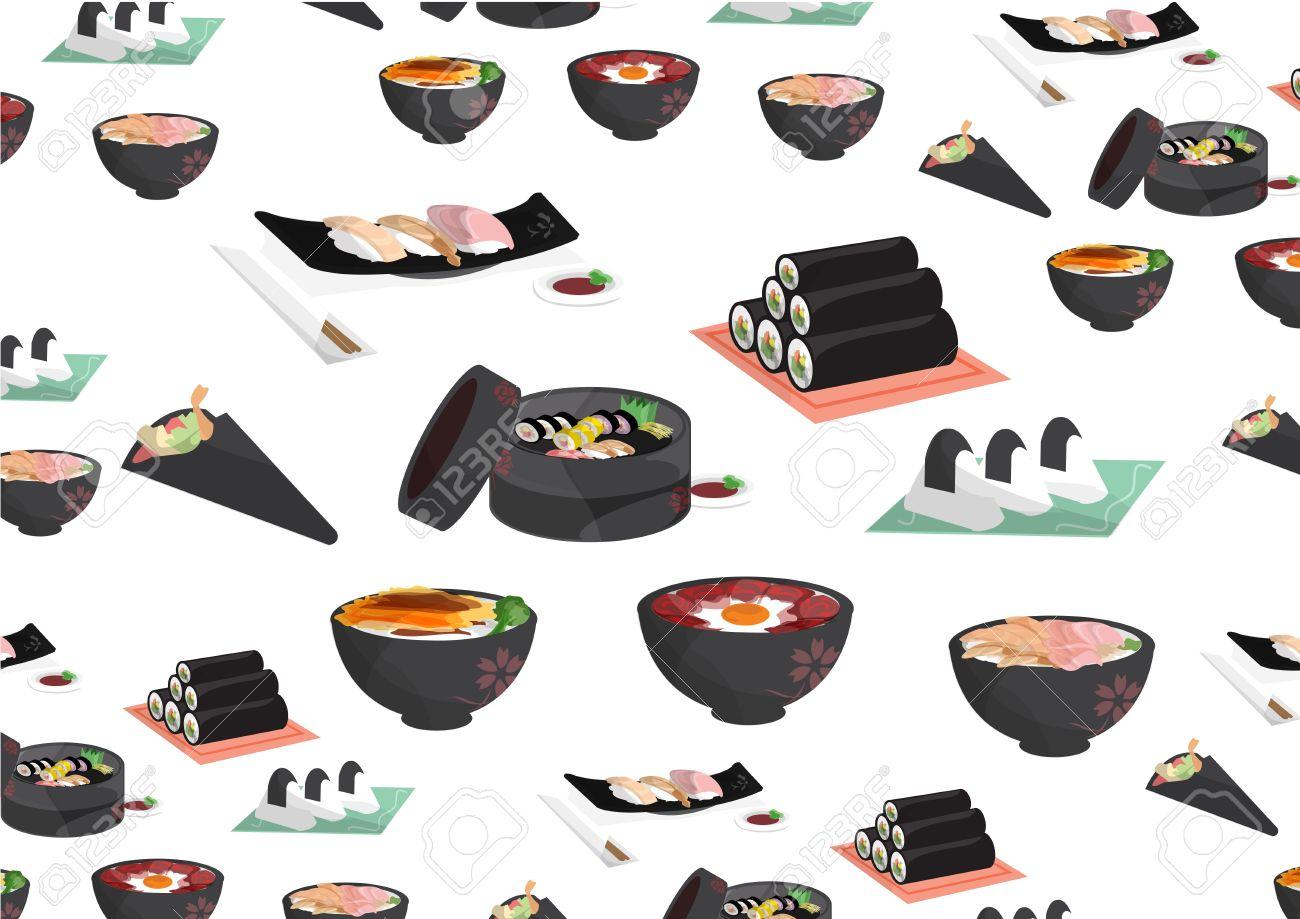 japanese foods,Rice balls, sushi, sashimi, hand-rolled, rice bowl Stock Vector - 14016377