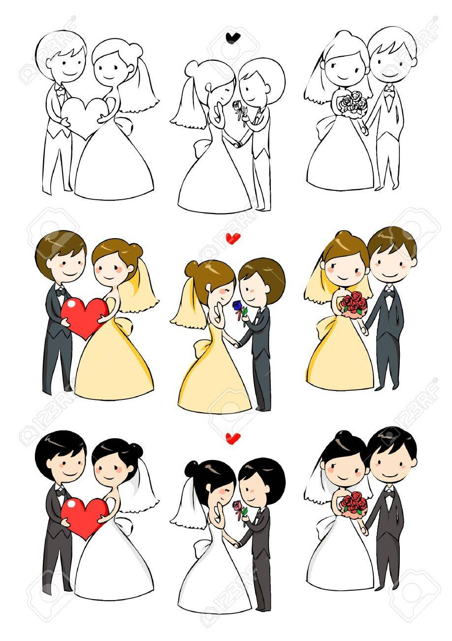 lovely bride and groom with 3 actions - 14016334