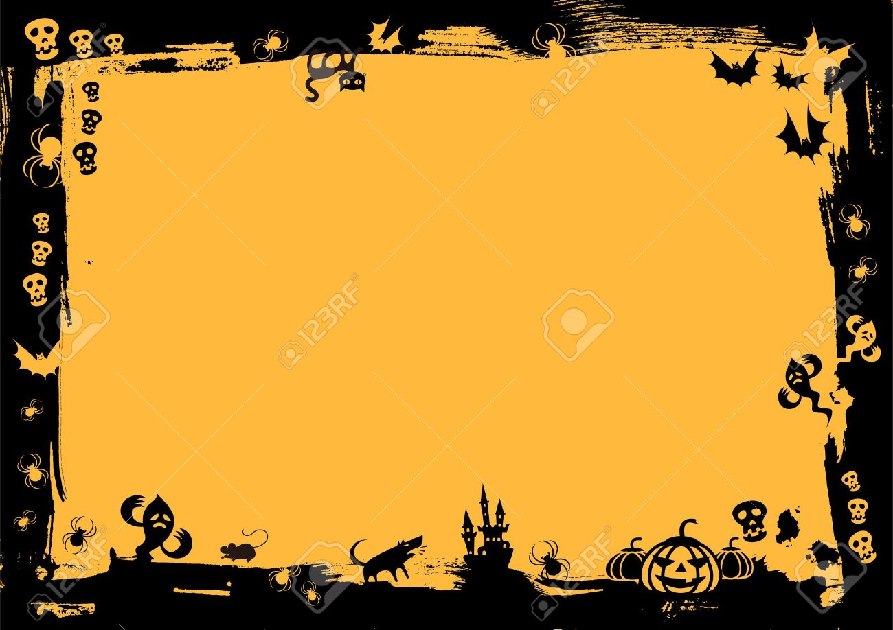 Black Border In Yellow Background For Halloween Royalty Free ...