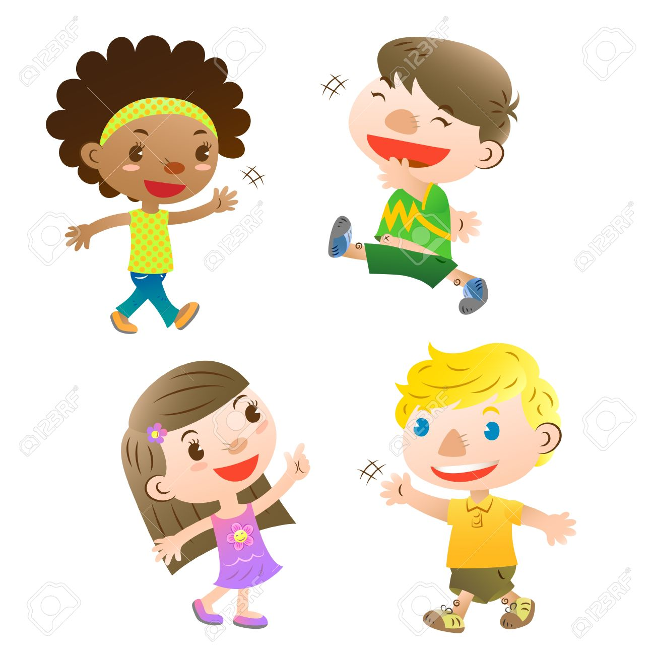Cute kids pointingwalking and greeting royalty free cliparts cute kids pointingwalking and greeting stock vector 16054987 m4hsunfo