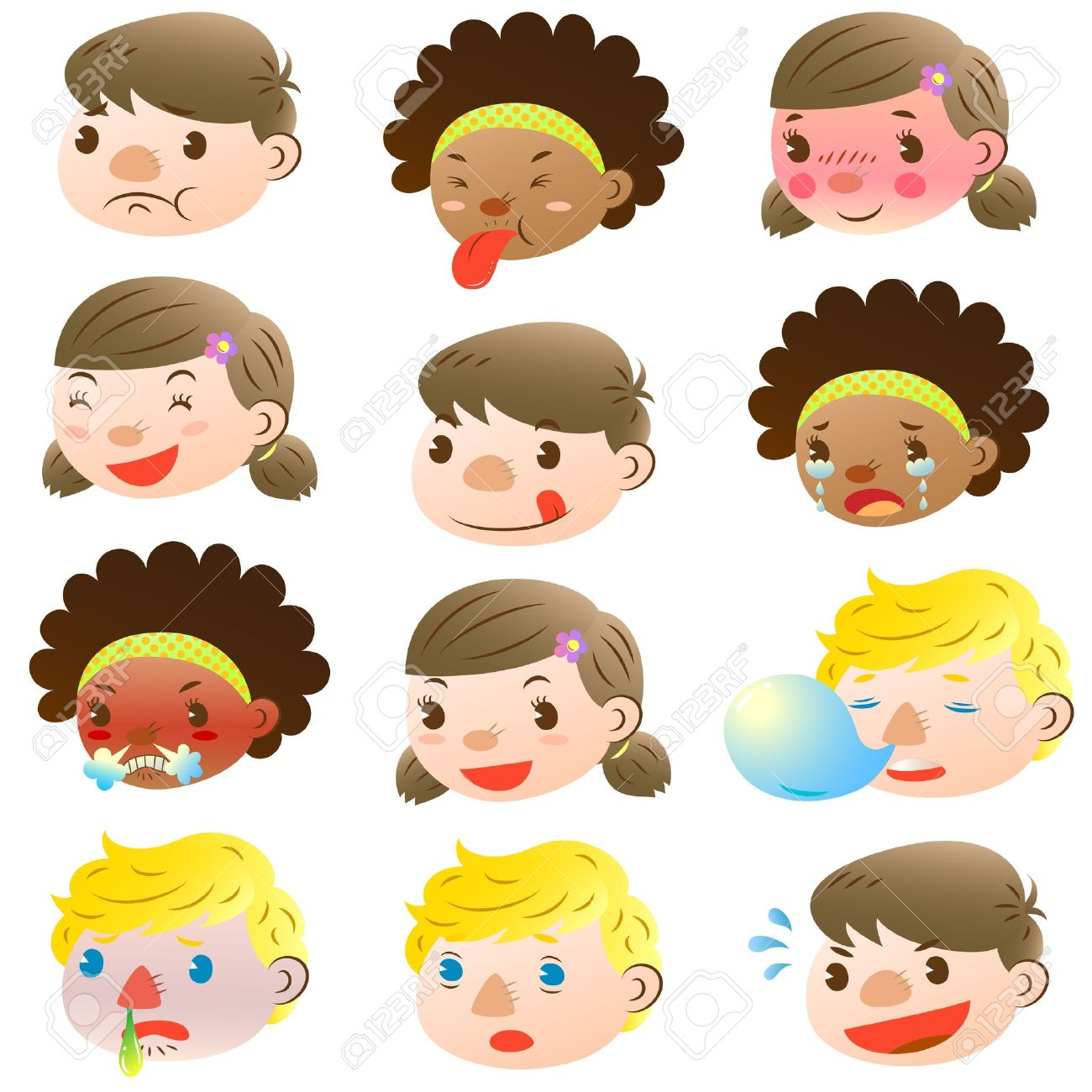 sick child children of various facial expressions - Cartoon Picture Of Child
