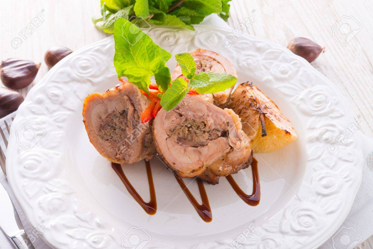 Turkey s beef olive with ham-sweet chestnut filling Stock Photo - 17820174