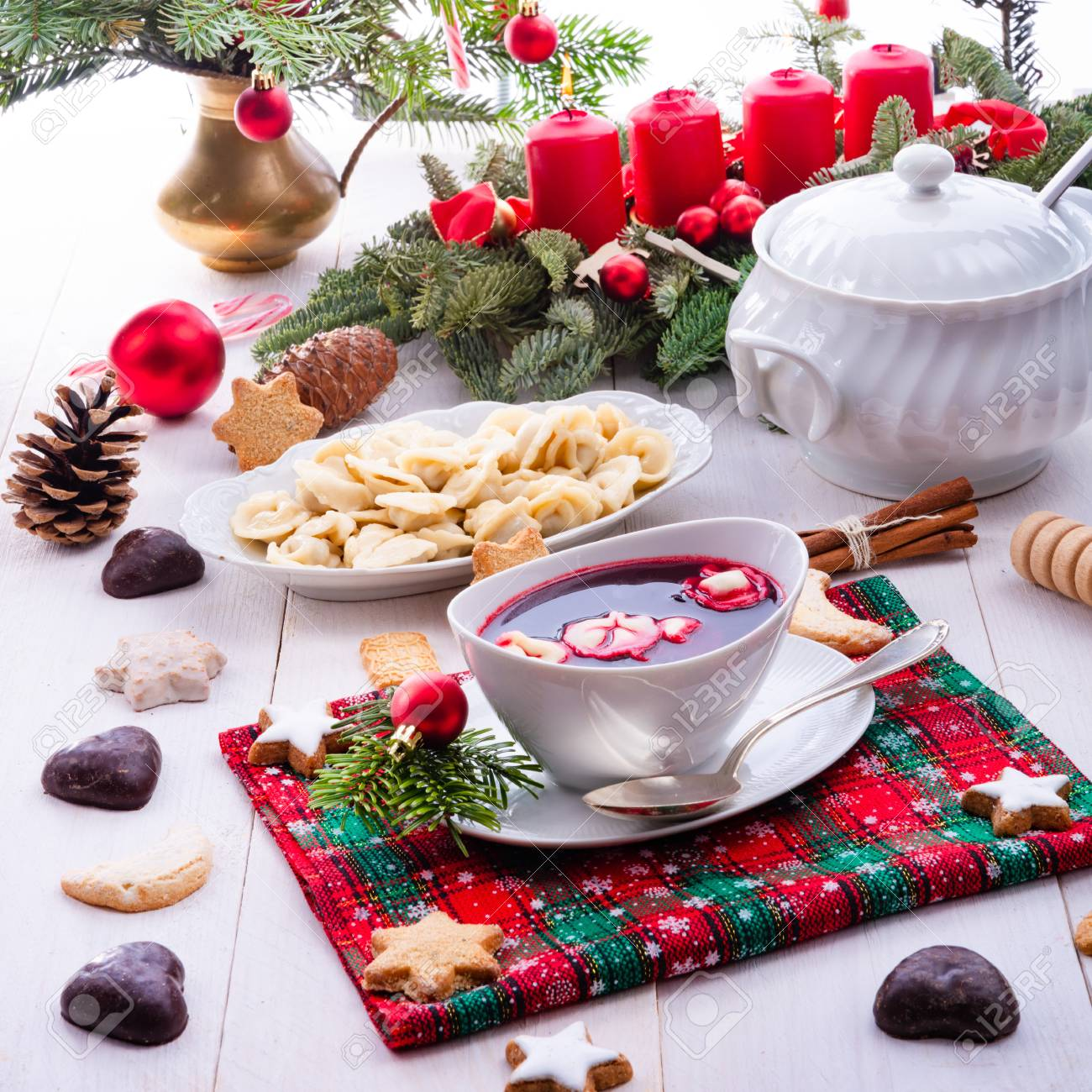 Christmas Soup.Red Barszcz With Uszka A Polish Christmas Soup