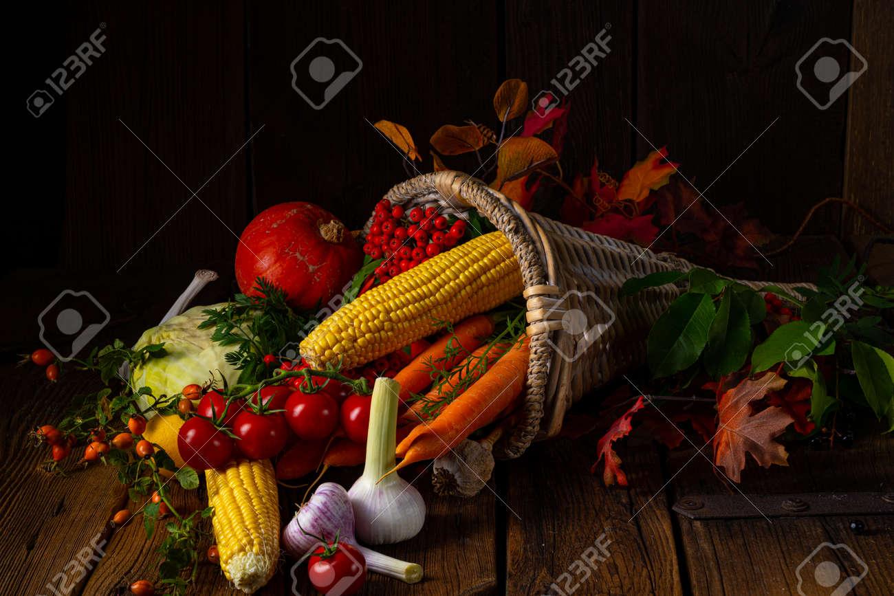 The beautiful autumnal cornucopia with vegetables - 158914841
