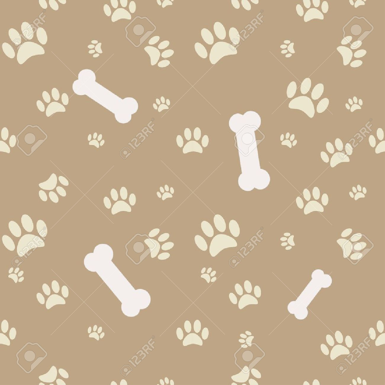 44d293eb6405 Background with dog paw print and bone in brown Stock Vector - 13169548