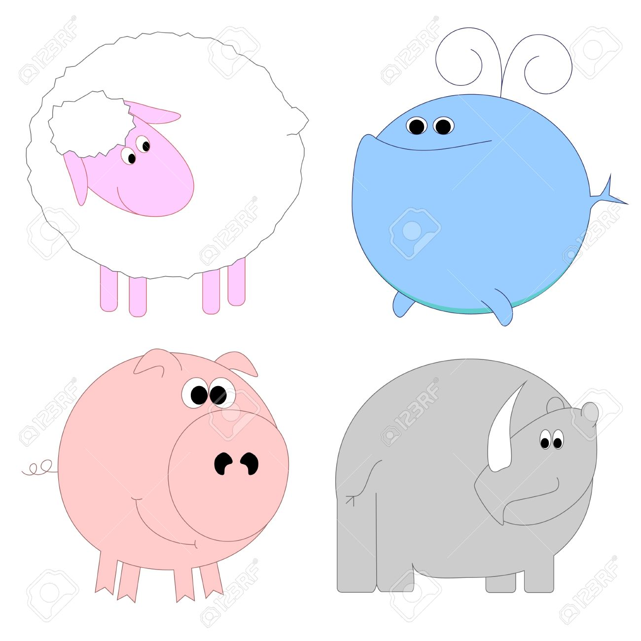 Set of funny animals - sheep, whale, pig, rhino Stock Vector - 13169522