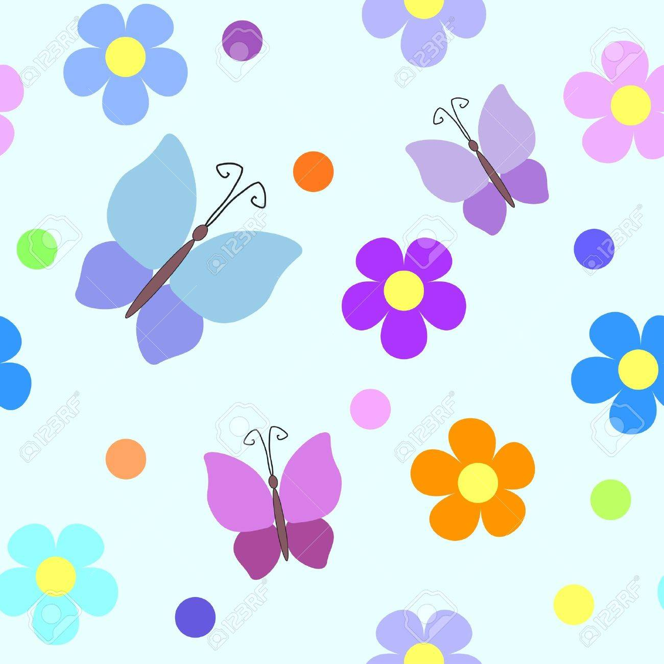Seamless pattern with flowers, rounds and butterflies Stock Vector - 13169550