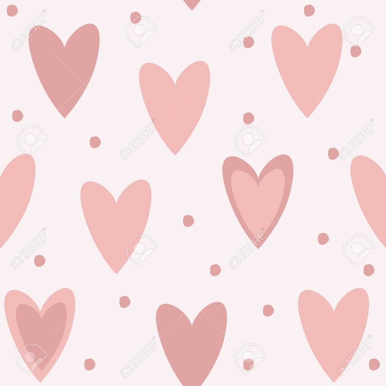 De Fondo Sin Fisuras Patrón único Lindo Color Rosa Con Corazones Y ...
