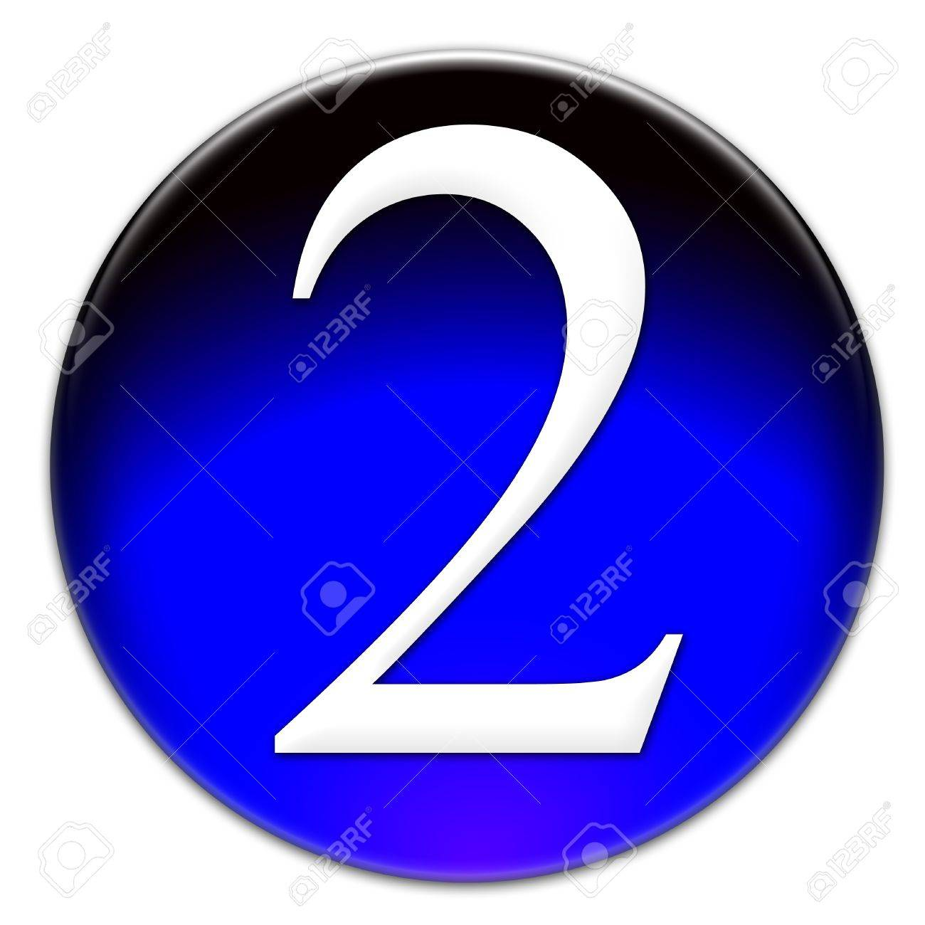 Number 2 Arial font type on a blue glassy button isolated on