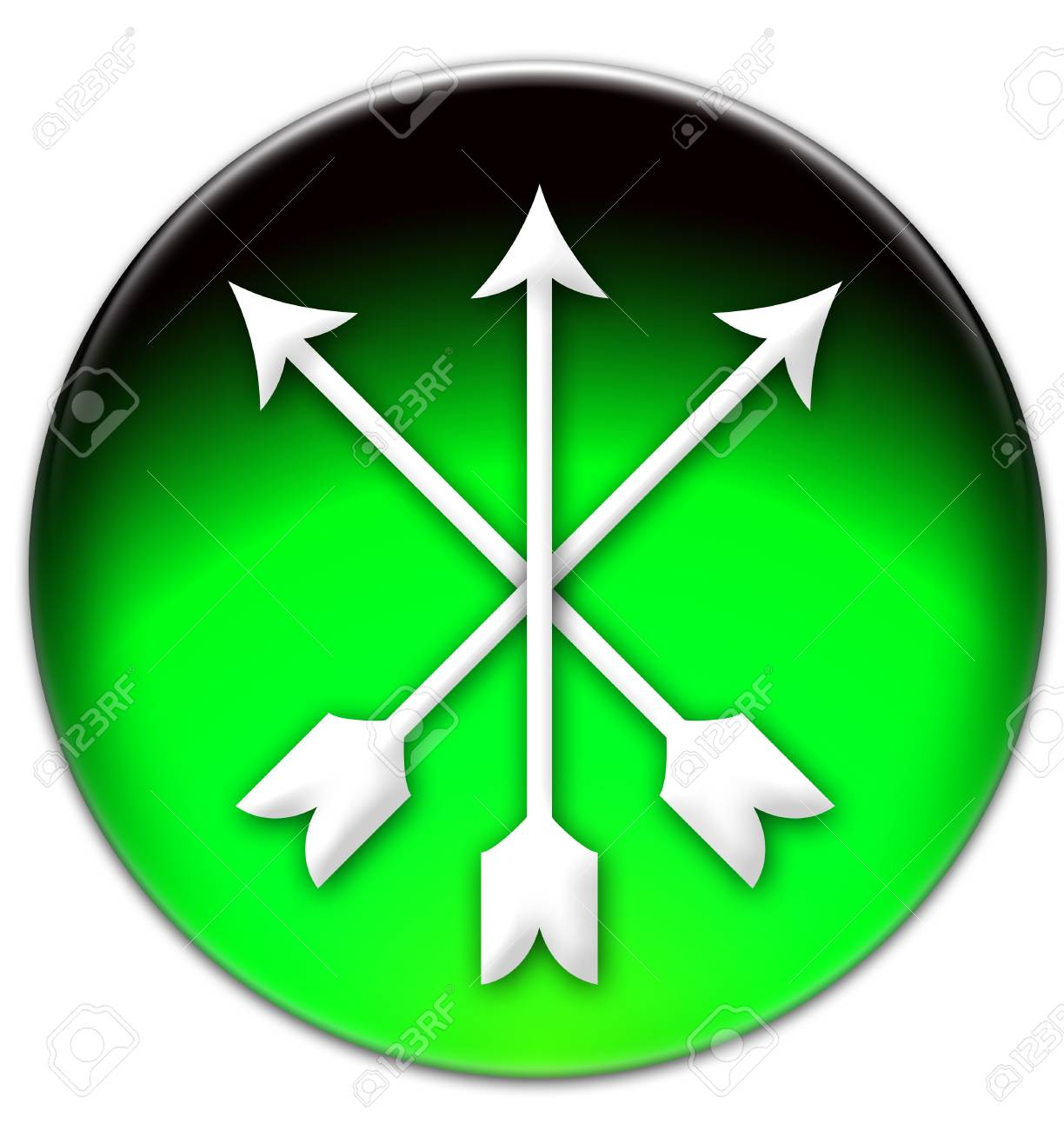 Three White Crossed Arrows On A Green Button Isolated Over White