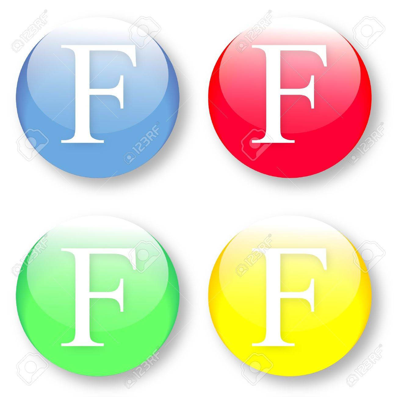 Letter F Times New Roman font type icons set on blue, red, green and yellow glassy buttons isolated on white background  Vector illustration may be resized to any scale without data losses Stock Vector - 19654215