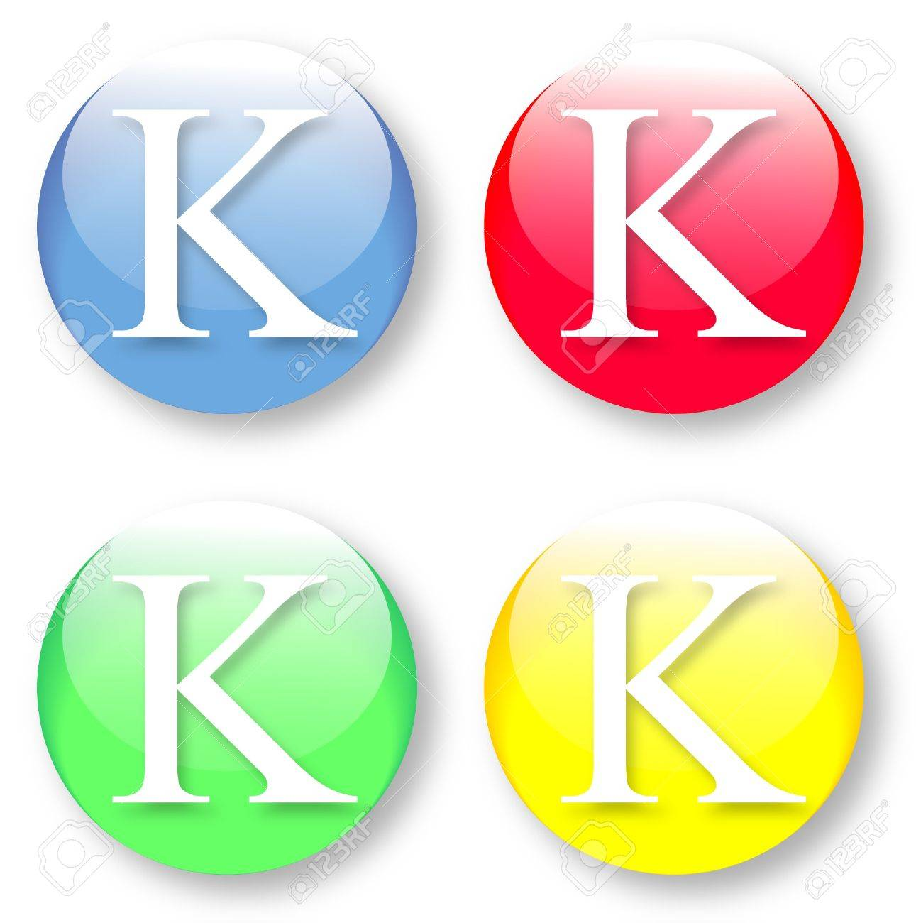 Letter K Times New Roman font type icons set on blue, red, green and yellow glassy buttons isolated on white background  Vector illustration may be resized to any scale without data losses Stock Vector - 19912955