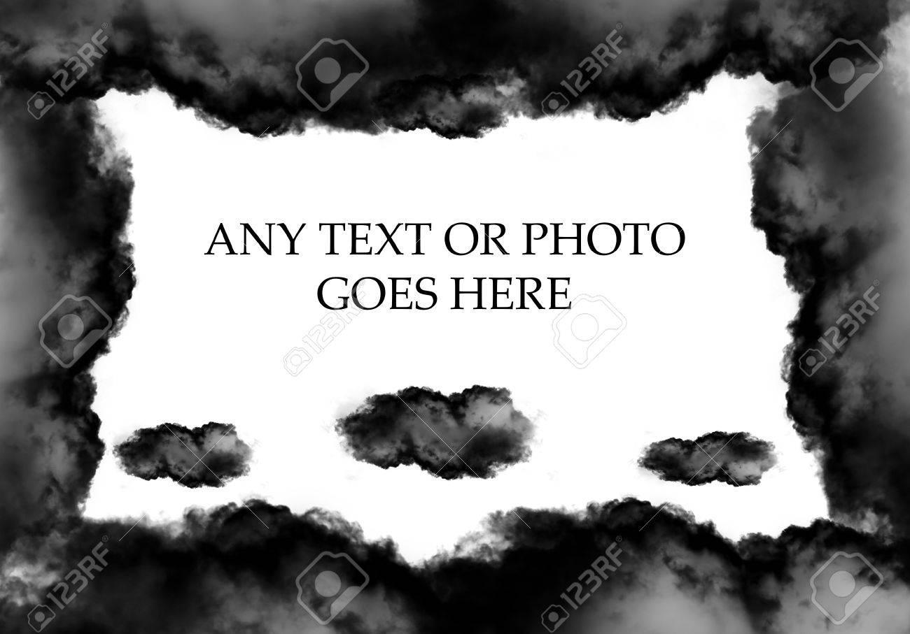 Schwarze Wolke Geformten Rahmen über Festen Weißen Hintergrund Für ...