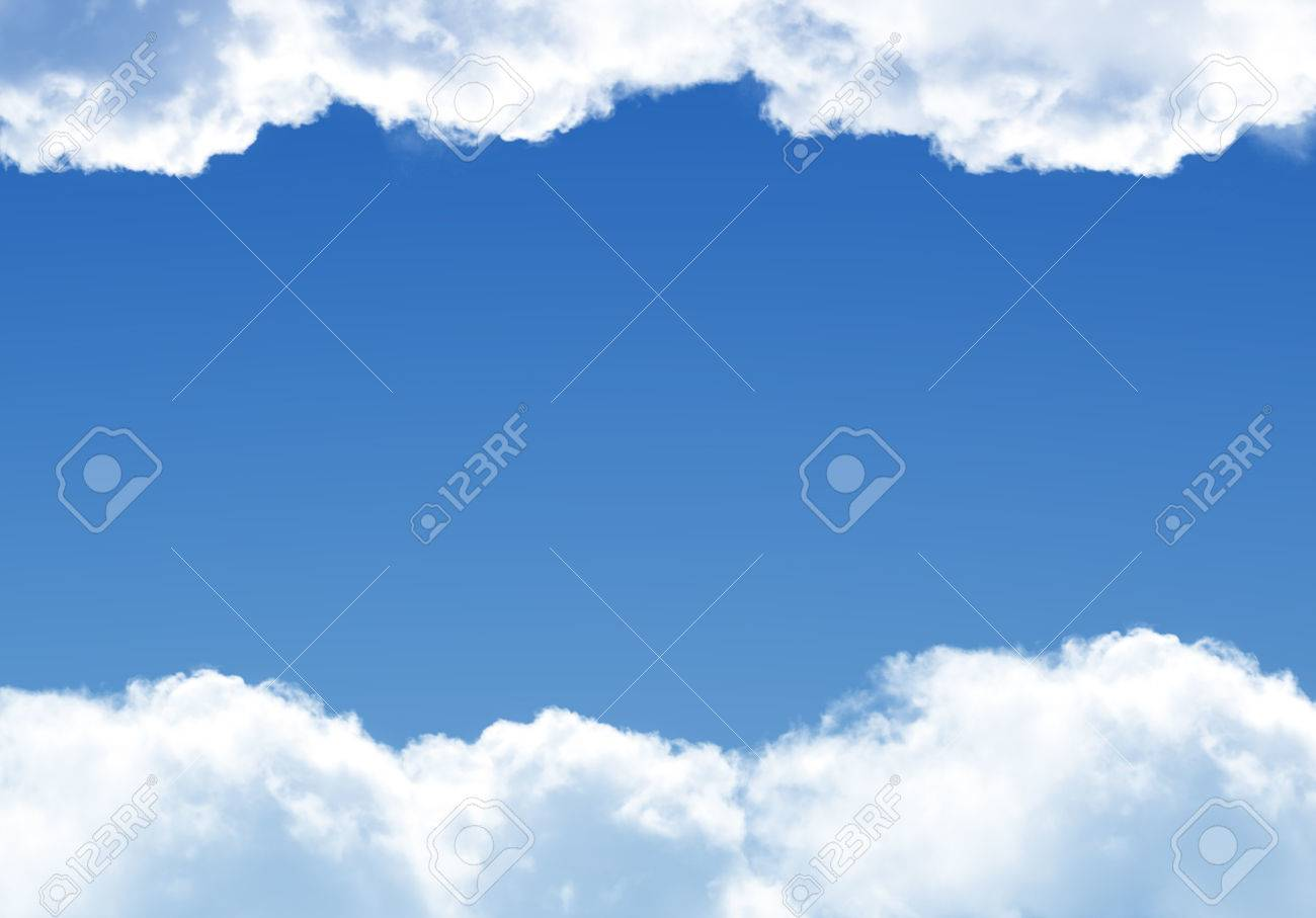 white clouds frame template isolated over blue background realistic