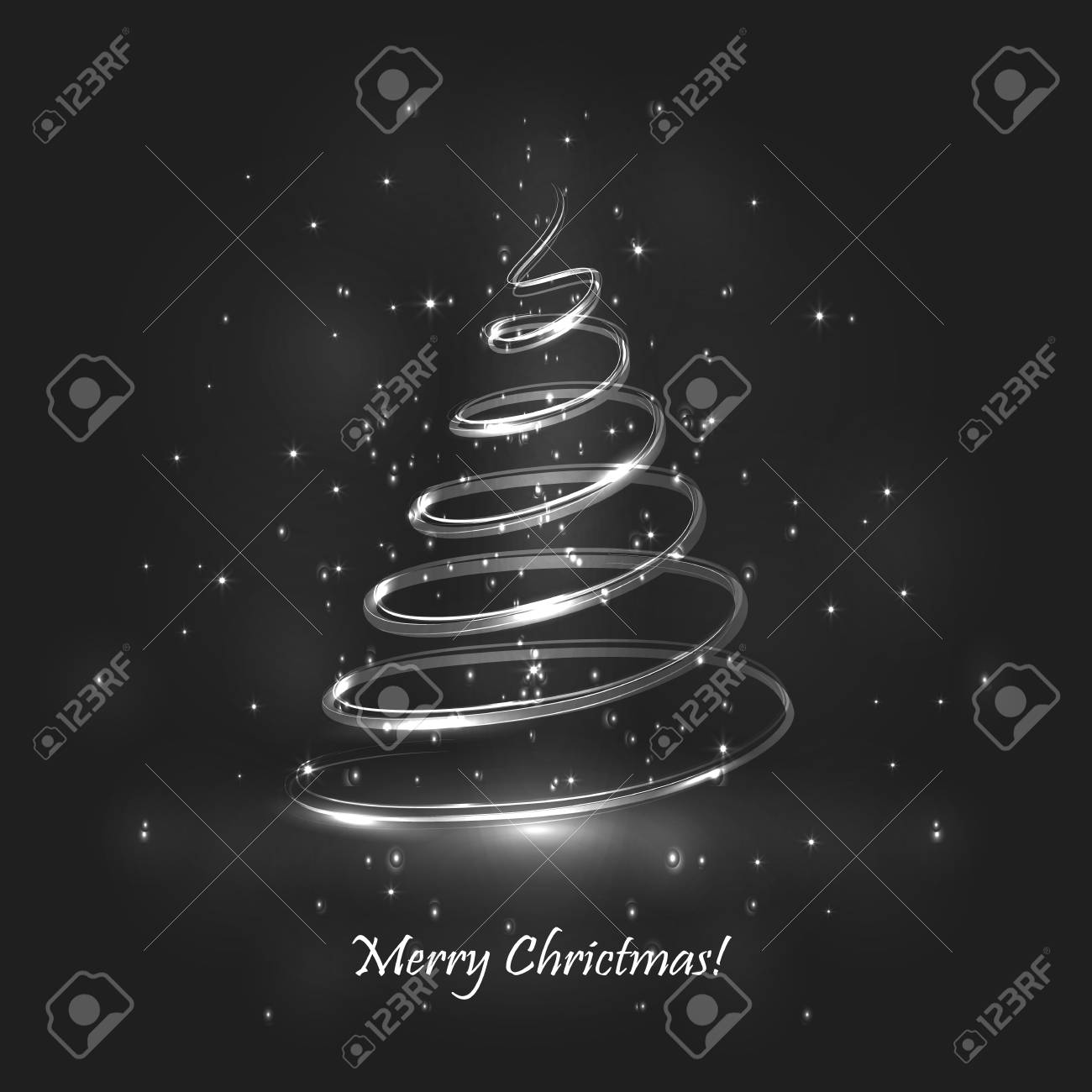Magic Christmas Tree Grey Background Christmas Card Royalty Free
