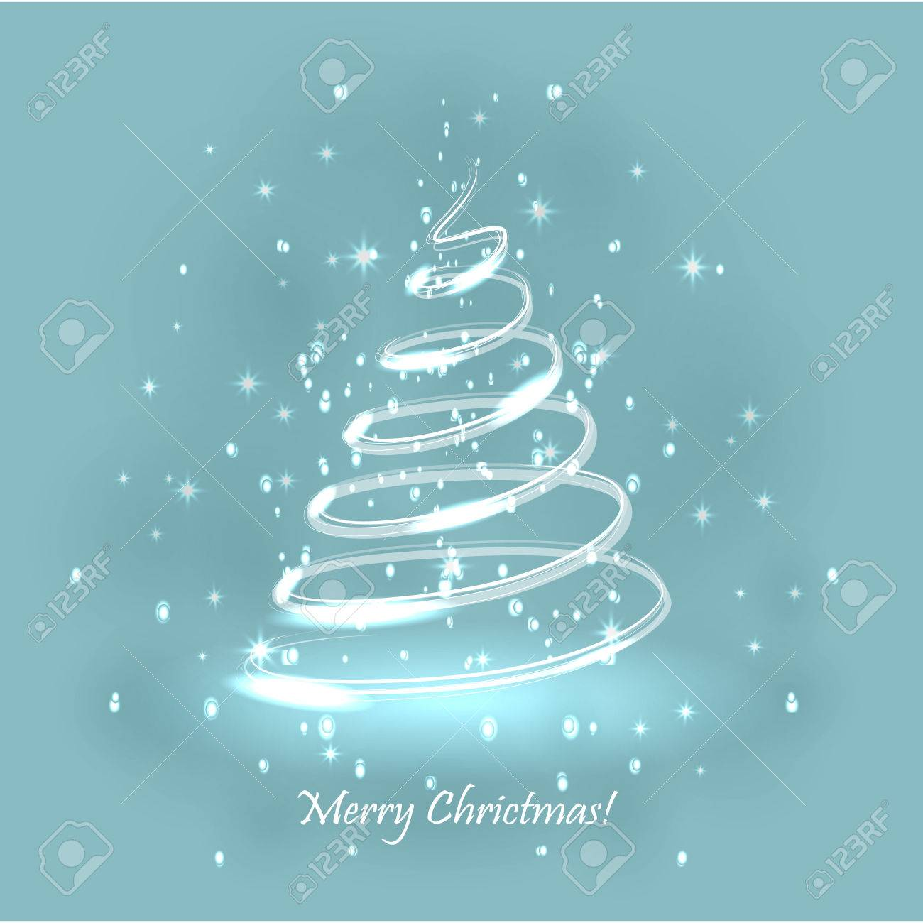 Magic Christmas Tree Light Blue Background Christmas Card Royalty Free Cliparts Vetores E Ilustracoes Stock Image 63417771