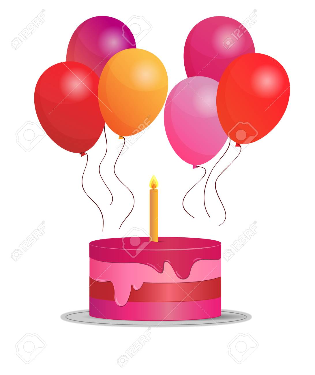Simple Illustration Of Birthday Cake With Balloons Stock Vector