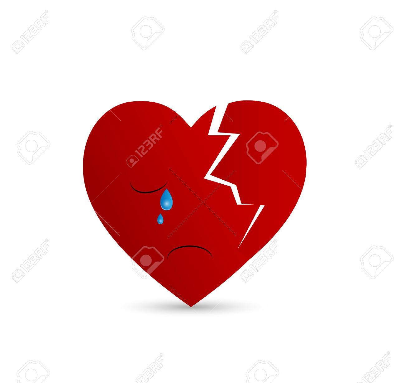 Broken Ilustración Del Corazón Llorando Ilustraciones Vectoriales