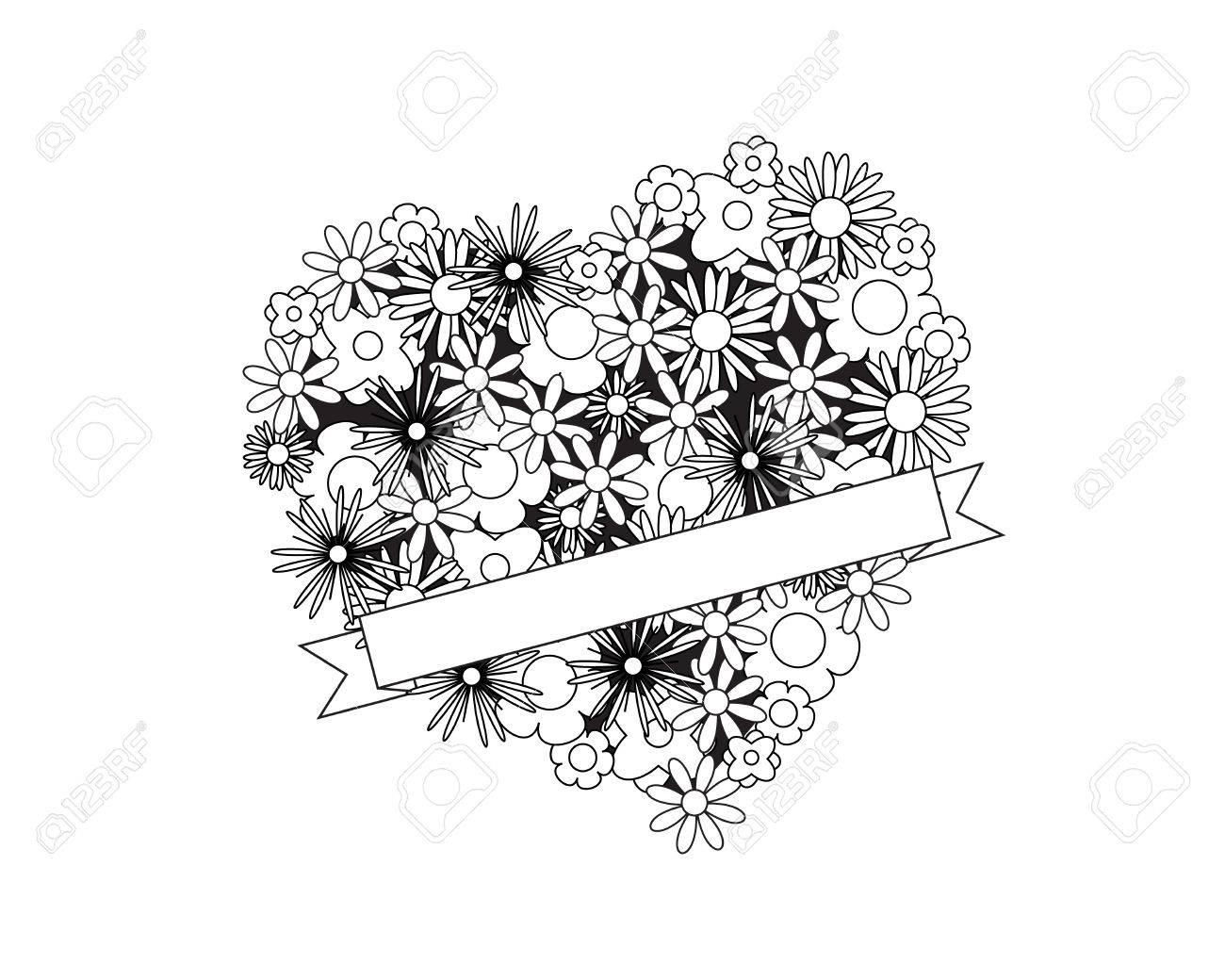 coloring page for adult od kids simple floral heart with ribbon place for your text