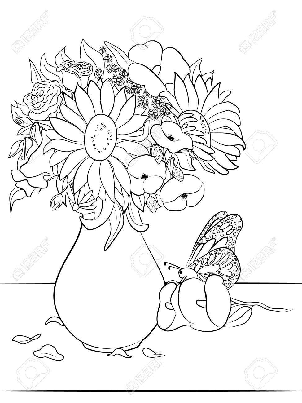Jarrón Con Flores   Dibujo Para Colorear Para Adultos Y Niños