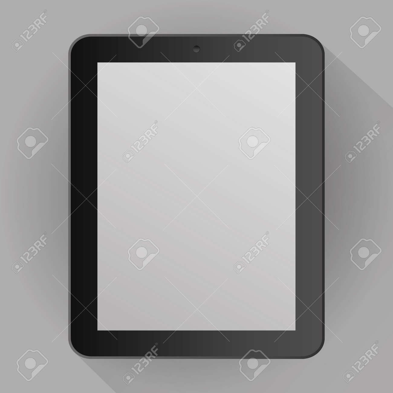 Realistic gray tablet isolated on gray background with shadow. vector illustration - 126811583
