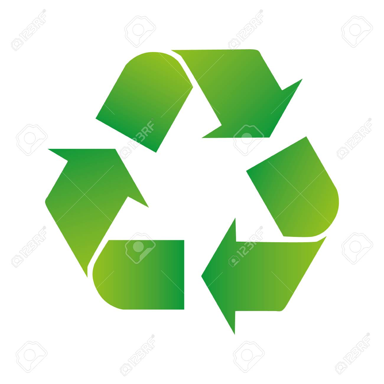 Green arrows recycle eco symbol vector illustration isolated on white background. Recycled sign. Cycle recycled icon. Recycled materials symbol. - 125836121
