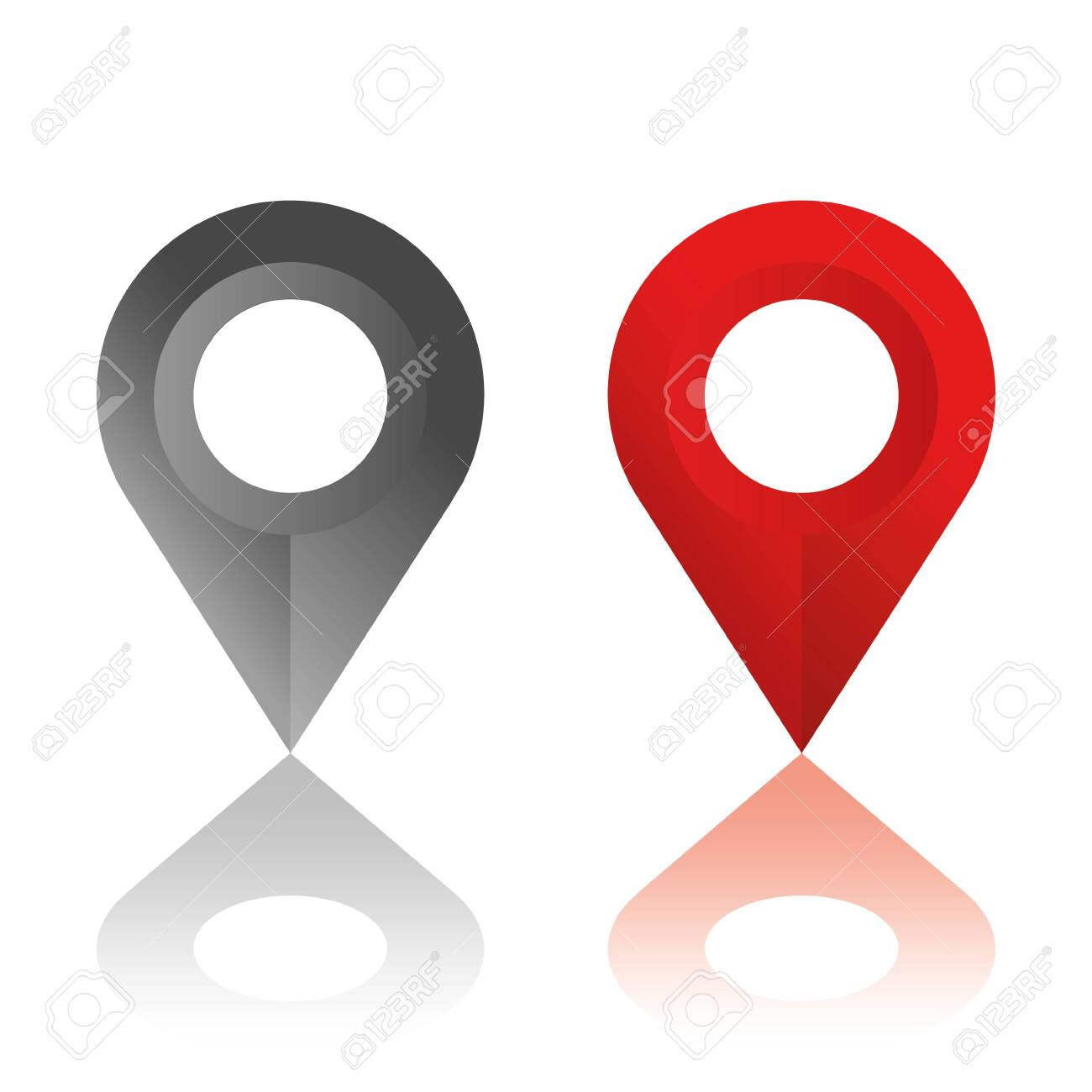 Set of location icons. Modern map markers .Vector illustration on a white background. - 134490933