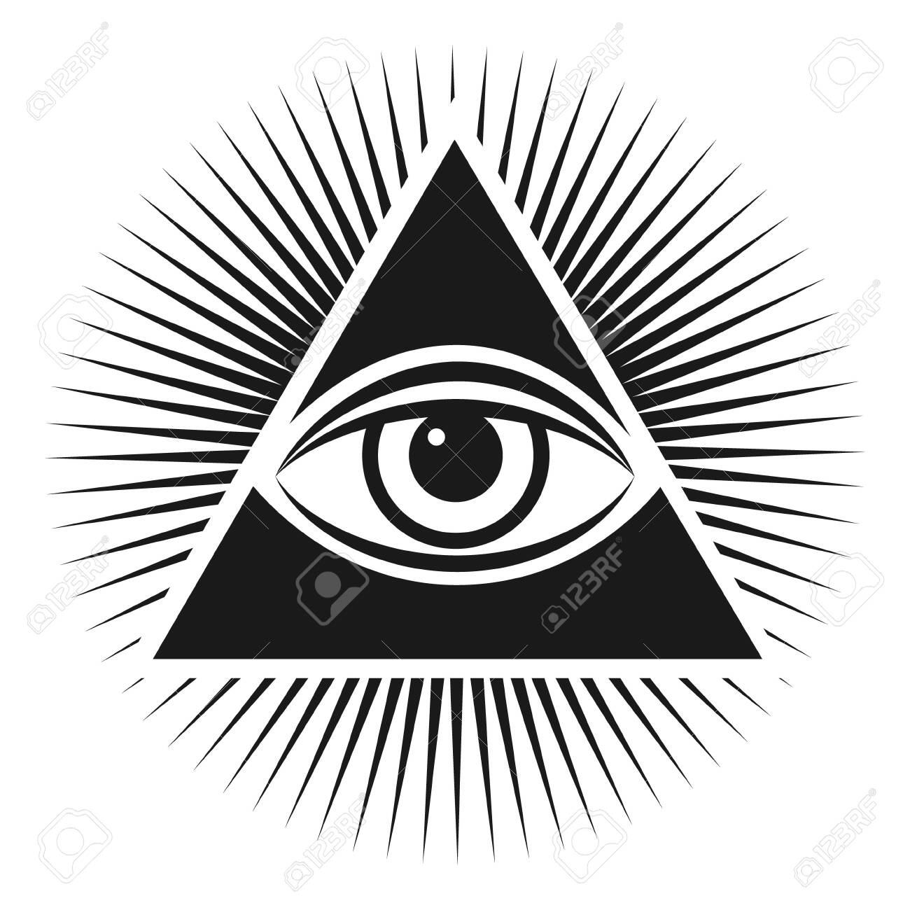 Masonic symbol The all-seeing eye inside the pyramid triangle icon. Vector illustration on a white background - 146648411
